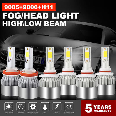 Combo 9005  H11  9006 3900W 585000LM LED Headlight Kit CREE Hi Low Bulbs 6000K