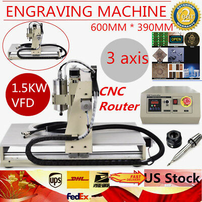 3 Axis 6040 1.5kw Vfd Cnc Router Engraver Engraving Milling Carving Machine Us