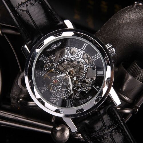 Winner Men Casual Black Leather Date Automatic Mechanical Sport Army Wrist Watch