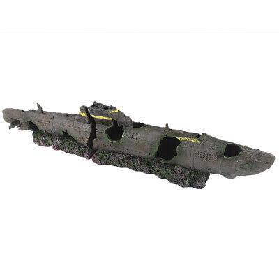 Acuario Grande Tanque Submarino Adorno Decoración Sunken U Barco Wreck #2628B