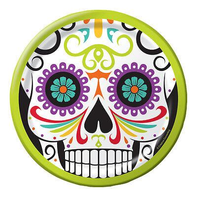 8 Halloween Tag der Toten Papierteller 18cm Sugar Skull Geschirr Dia Muertos