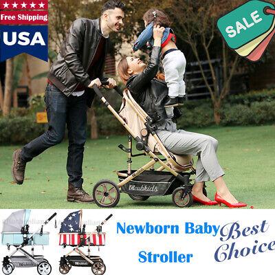 Luxury Newborn Baby Stroller Pushchair W/ Infant Basket Car Seat Foldable Buggy