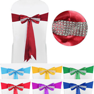 Spandex Chair Cover Sashes Bows Band Ribbon Tie Decor for Banquet Christmas Deco ()