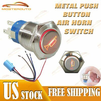 12v Socket Plugled Lighted Momentary Metal Push Button Air Horn Switch Car Boat