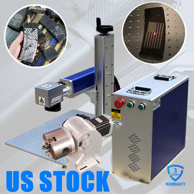 Us Stock 50w Split Fiber Laser Marking Machine Engraver With Rotary Axis For Gun