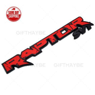 For 09-14 Ford F-150 Raptor SVT Fender Tailgate Nameplate Emblem Badge Black Red