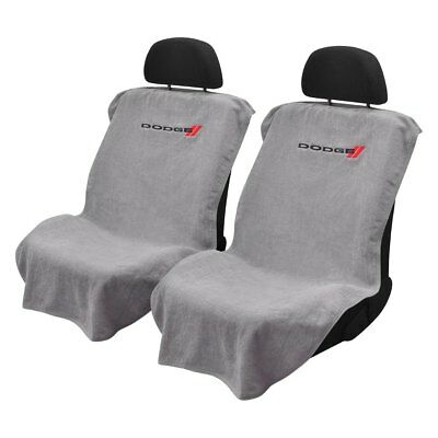 Pair 2 New Dodge Logo Emblem Grey Towel Protector Seat Armour Covers