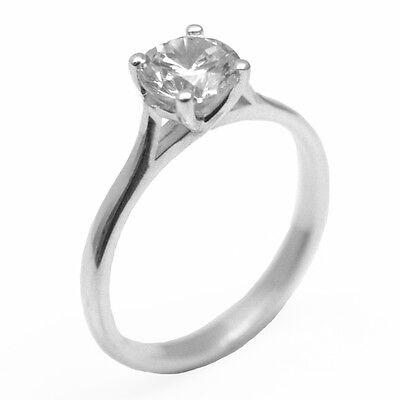 Engagement Ring Diamond Unique 1ct Solid Silver Rhodium platinum  118