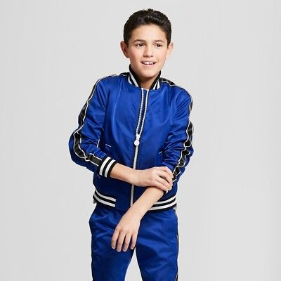 Hunter for Target Boys' Chain Trim Track Varsity Jacket Blue S - Varsity Jackets For Boys