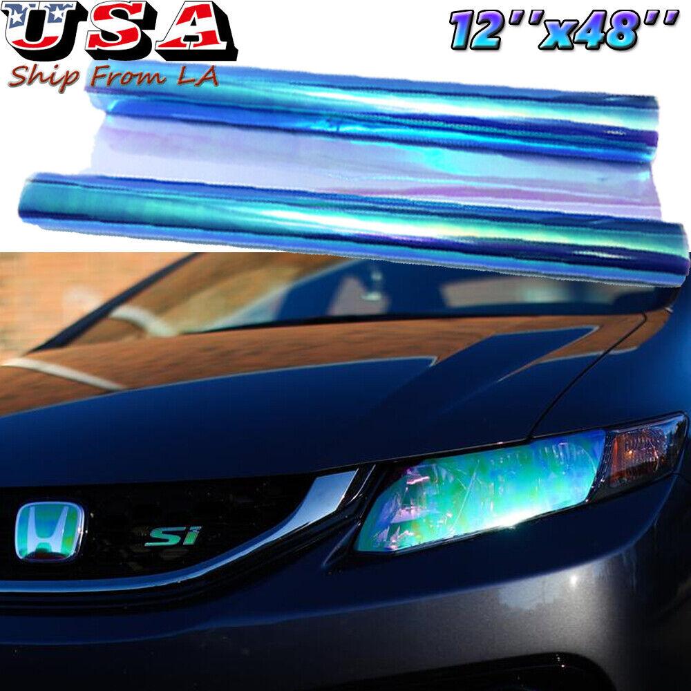 *Chameleon Neo Chrome Dark Blue Headlight Taillight Fog Light Tint Film Vinyl