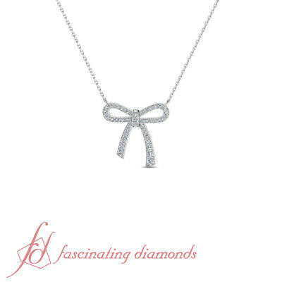 Bow With Diamond Necklace - 1 Carat Round Cut Bow Diamond Pendant Necklace With Chain In 14K White Gold