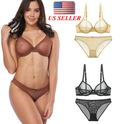 Women Sexy Lace Sheer Mesh Bra Set Non Padded Underwire Lingerie Bralette BCDEF