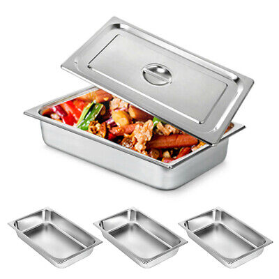 4-pan 4inch Steam Table Pans W Lids Catering Food Warmer Buffet Stainless Steel