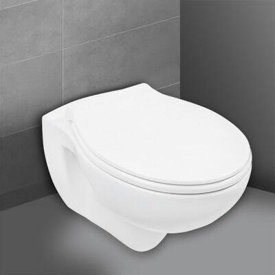 Spülrandloses WC Weiß Wand-WC Spülrandlos Tiefspüler mit Sitz Hänge-WC Toilette (Toiletten)