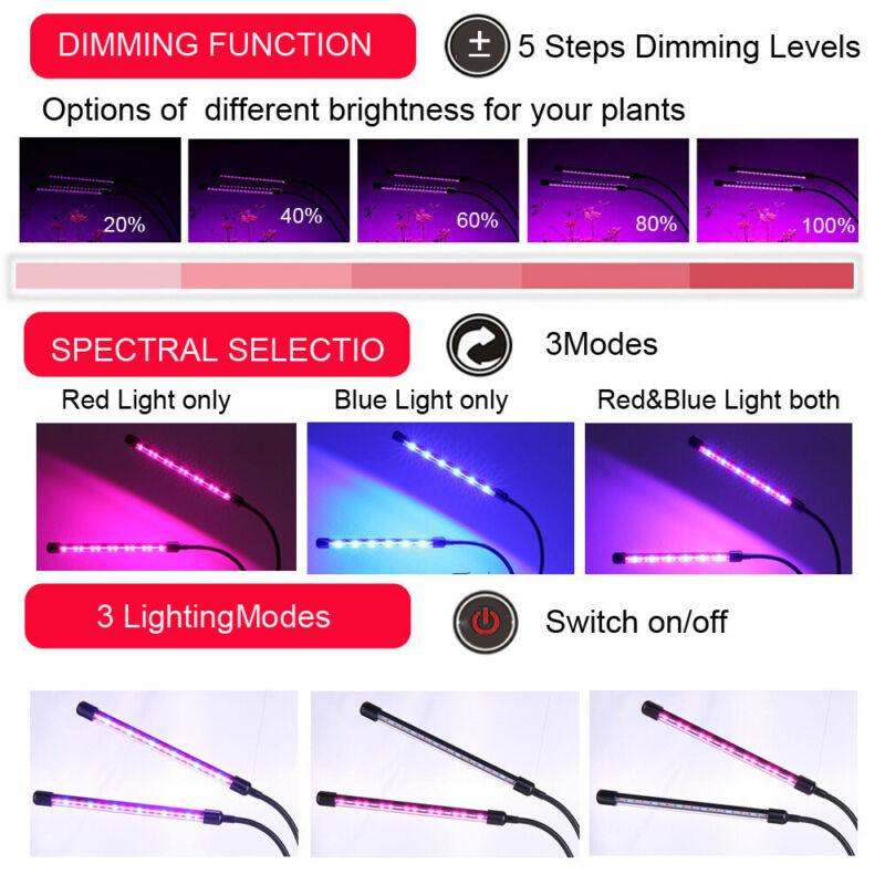 Doppelkopf 30W LED Pflanzenlampe Pflanzenleuchte Voll Spektrum Pflanzenlicht