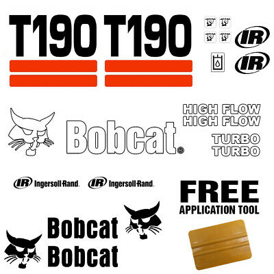 Bobcat T190 Skid Steer Set Vinyl Decal Sticker 20 Pc Set Free Decal Applicator