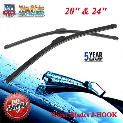 NEW 2024Bracketless Windshield Wiper Blades J HOOK OEM QUALITY All Season US