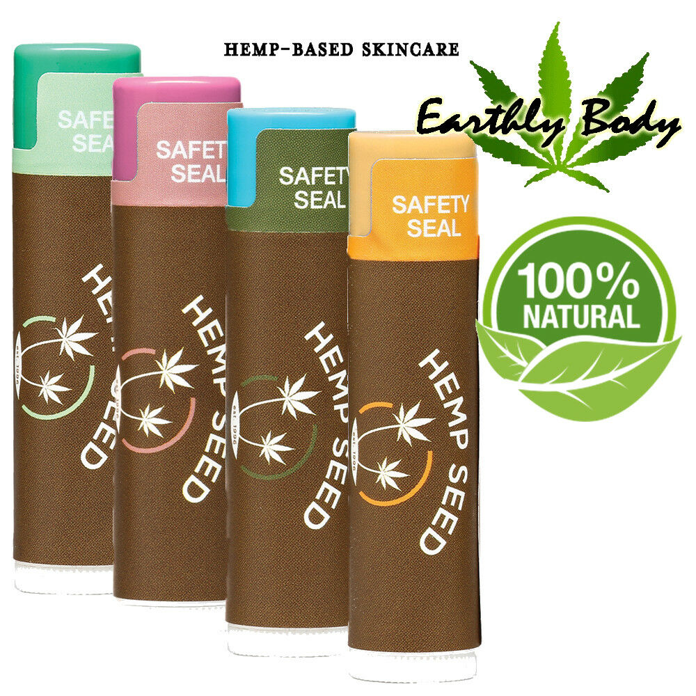 Earthly Body Organic Hemp Lip Balm Chap Vegan Natural Shea B