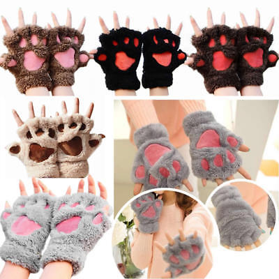 Gloves Cute Kids Adults Bear Cat Paw Claw Warm Winter Plush Half Finger Mittens - Cat Paw Gloves