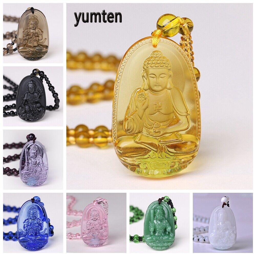 Jewellery - Yumten Amulet Necklace Crystal  Buddha Pendant Guardian Lucky Stone Jewelry Gift