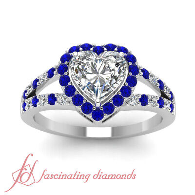 Round Blue Sapphire Halo Split Engagement Ring 0.90 Ct Heart Shaped Diamond GIA 2