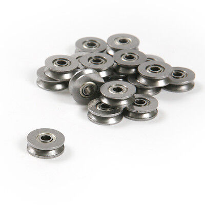 20pc V Groove 12mm Round Steel Wheel Pulley Bearing Roller For 2.5mm Wire Rope