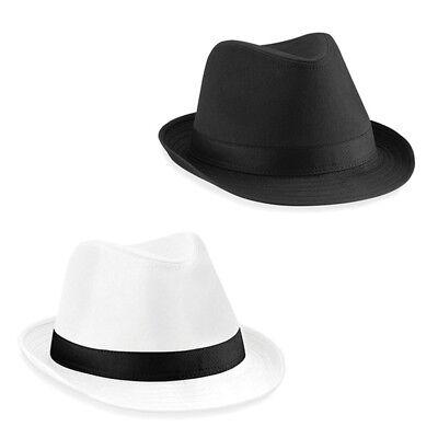 Beechfield Fedora Hut mit Band Mafia Unisex Damen - Fedora Hut Schwarz