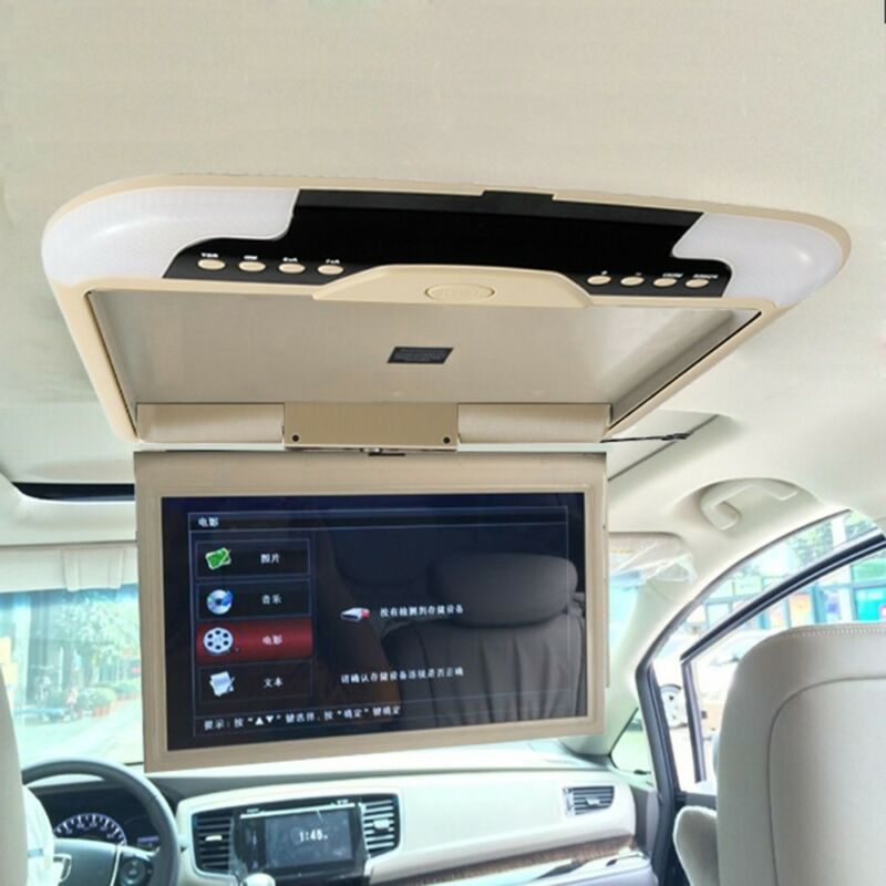13inch Beige Car Roof Monitor LCD TFT Overhead Flip Down Car Ceiling Screen US