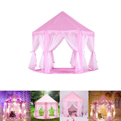 Children Pink Portable Pop Up Play Tent Kids Princess Castle Fairy PlayHouse - Pink Tent