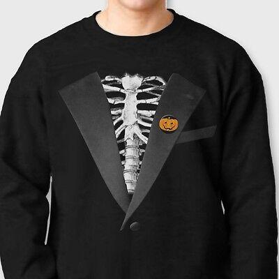 SKELETON TUXEDO Funny Bones Costume T-shirt Halloween Crew Neck Sweatshirt