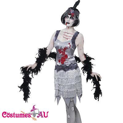 Ladies 20s 1920s Zombie Bloody Flapper Horror Costume Halloween Fancy - 1920s Zombie Costume
