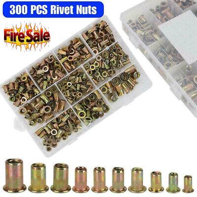 300 Pcs Zinc Steel Rivet Nut Kit Rivnut Nutsert Assort 150x Metric 150x Sae Tm
