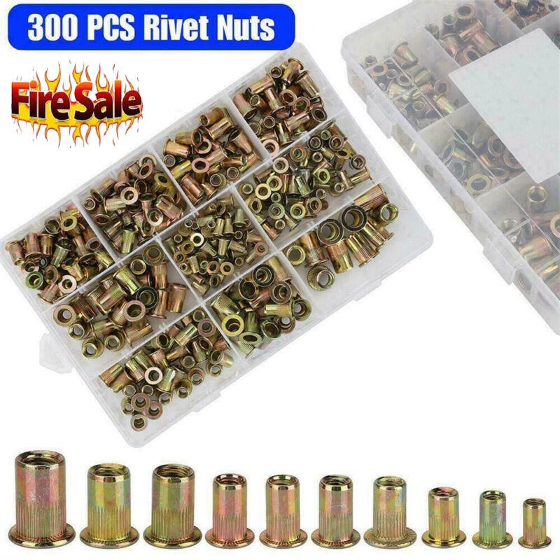 300 pcs Zinc Steel Rivet Nut Kit Rivnut Nutsert Assort 150x Metric + 150x SAE TM