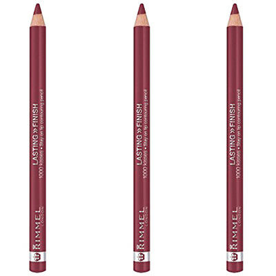 Lot of 3 RIMMEL 1000 Kisses Stay On Lip Liner Pencil 2 061 W