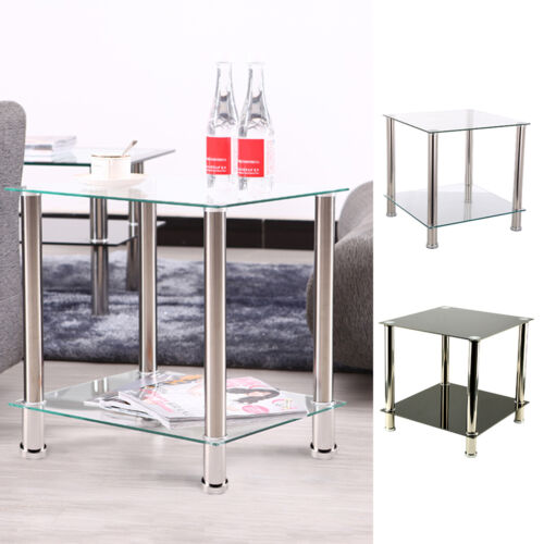 2 Tiers Black Clear Shelf Glass Side End Coffee Lamp Table Living Room Styl