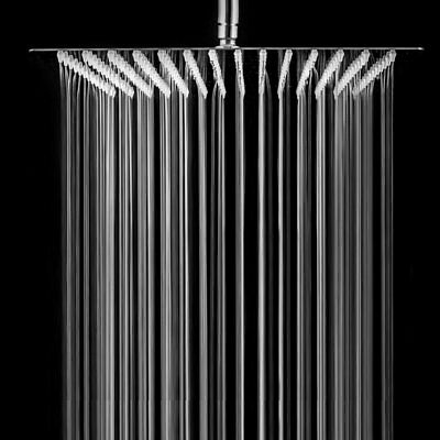 Brushed Nickel 16-inch Stainless Steel Square Rainfall Shower Head  Ultra Thin