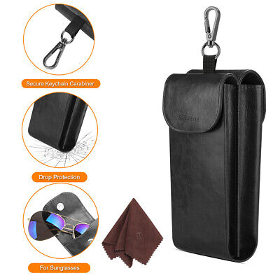Double Glasses Case Sunglasses Eyeglasses Eyewear Protective Pouch Bag (Sunglasses Leather Pouch)