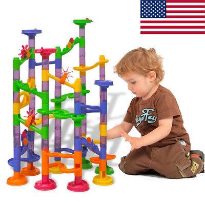 Building Block Toys (105 pcs Kids Marble Run Race Set Railway Building Blocks Construction Track)