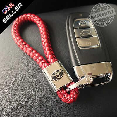 For Toyota Red Leather Metal Keychain Gift With Logo Emblem Decoration Gift