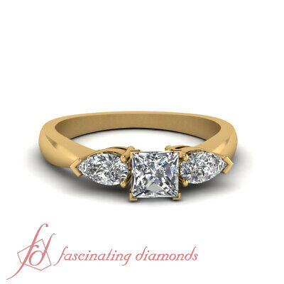 One Carat Princess Cut 3 Stone Diamond Rings In 14K Yellow Gold GIA Certified