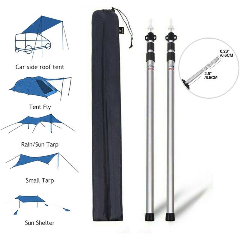 Telescoping Tent Pole 90-inch Aluminum Adjustable Camping W/2 Tarpaulin Pole Rod