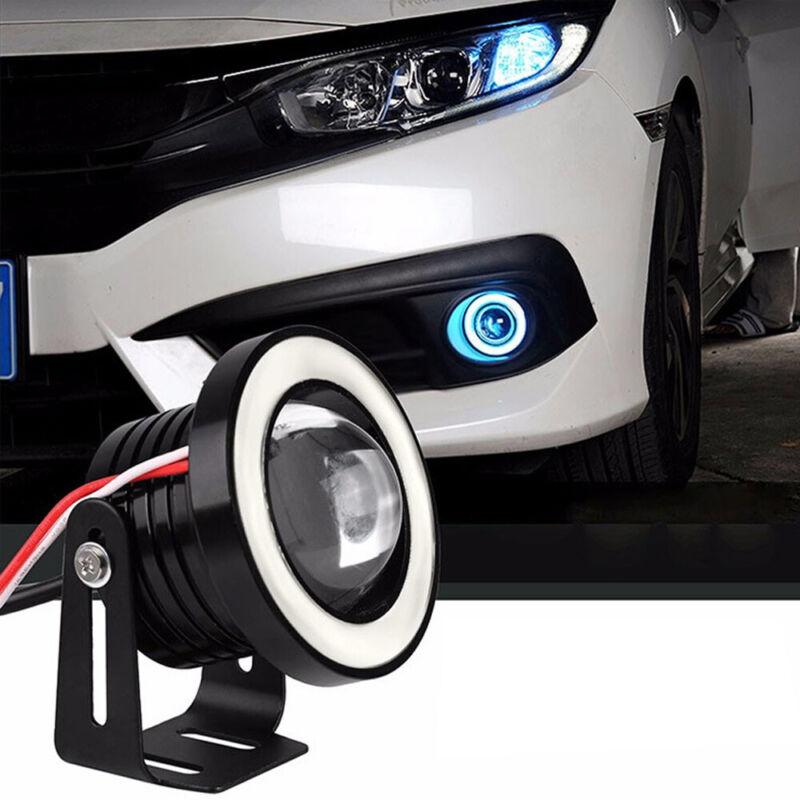 "2.5/"" COB Fog Light Driving DRL Projector Car Lamp Halo Angel Eyes LED Yellow UK"