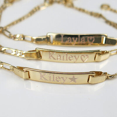 """Personalized Baby ID Bracelet 18K Gold GF 6"""" Engraved Free Baby Shower Gift"""
