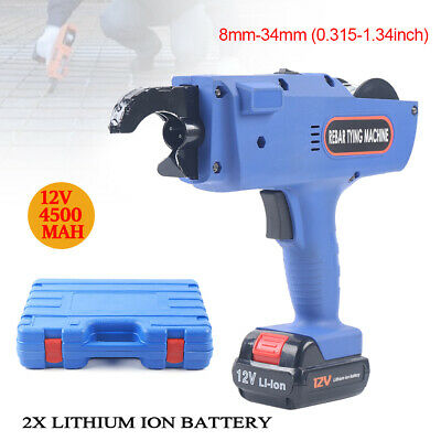 Automatic Handheld Rebar Tier Tool Tying Machine Strapping 8-34mm Blue Color 12v