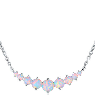 Sevil 18k White Gold Plated Created Opal Graduated Necklace Gold Plated Opal Necklace