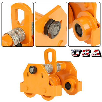 1 Ton Steel I-beam Push Beam Track Roller Trolley For Overhead Garage Hoist Us
