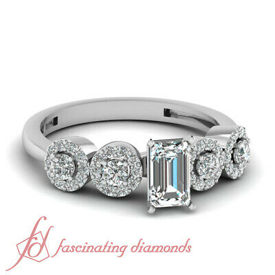 1.50 Carat Emerald Cut Pave Set Round Diamond Engagement Ring In White Gold GIA