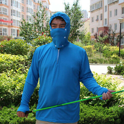 Mens Fishing Shirt anti-uv sun hood fishing clothing suit Mask long sleeve shirt