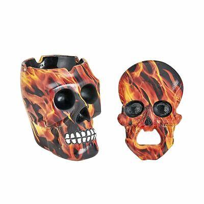 skull flame design ashtray and bottle opener gift set