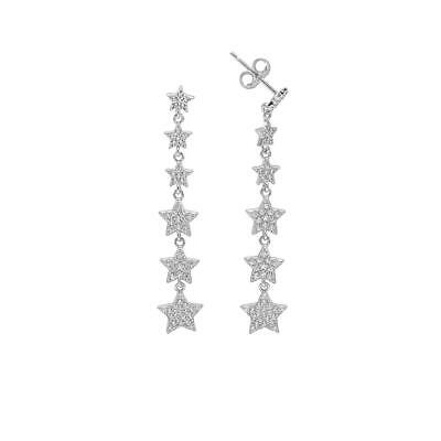 14K White Gold Over Sterling Silver Long Round Diamond Star Drop Stud Earrings ()